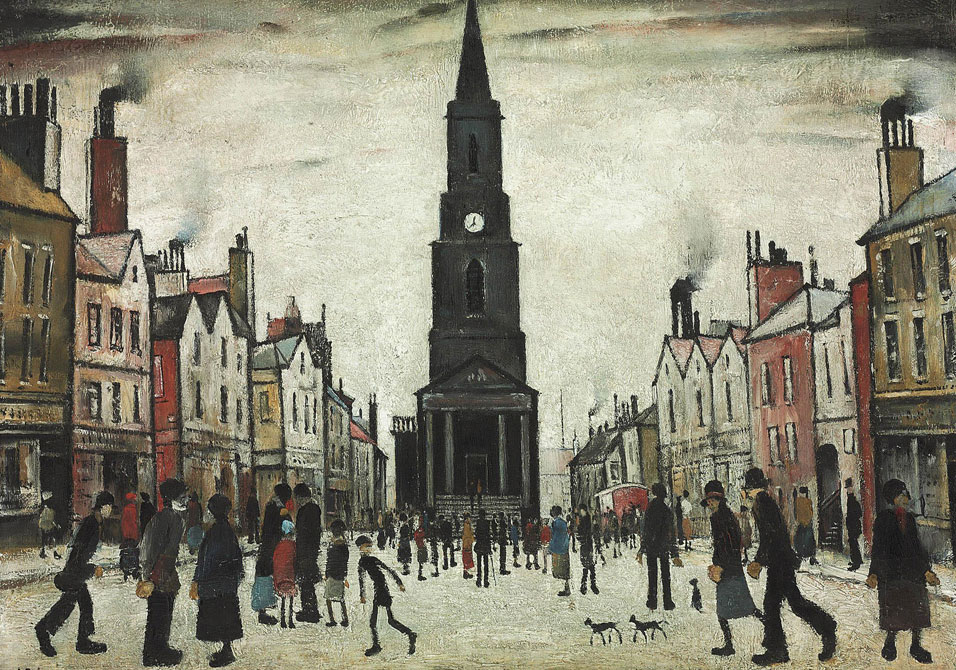 """And meanwhile time goes about its immemorial work of making everyone look and feel like shit.""   Martin Amis,  London Fields   (L.S. Lowry's  A Market Place )"