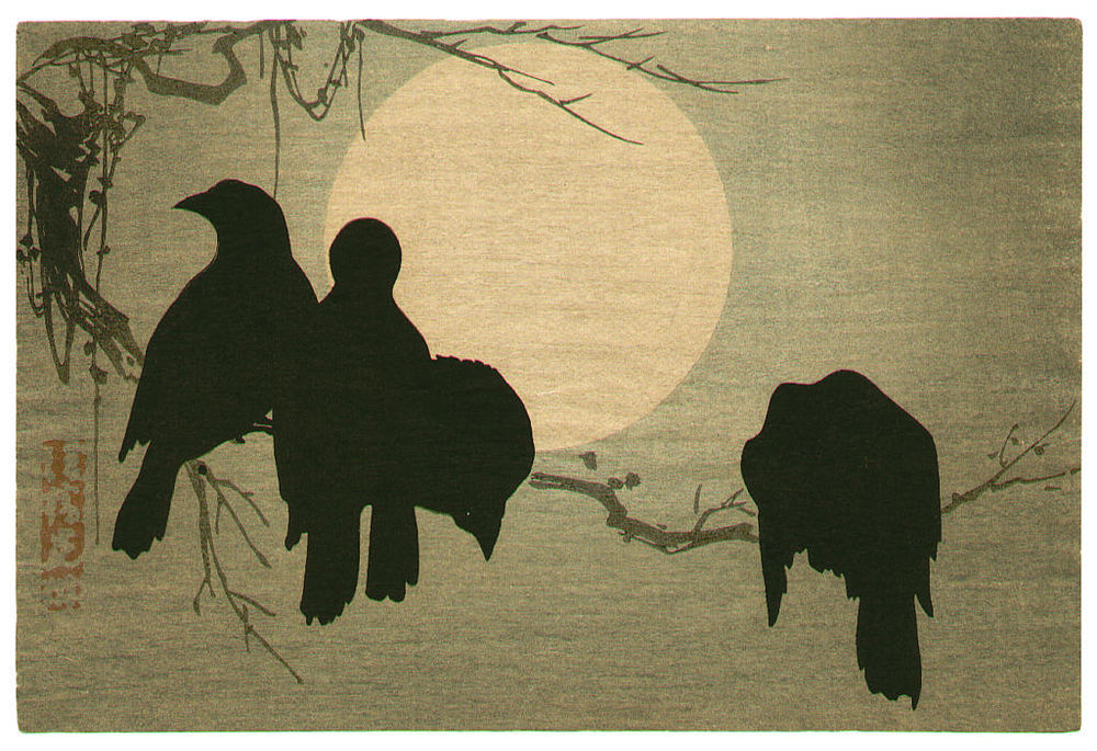 """To quote an old poet:     The moral sense in mortals is the duty     We have to pay on mortal sense of beauty.""   Vladimir Nabokov,  Lolita      (Ogata Kōrin's  Crows and the Moon )"