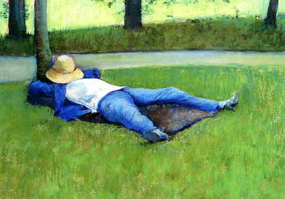 """Death must be so beautiful. To lie in the soft brown earth, with the grasses waving above one's head, and listen to silence. To have no yesterday, and no tomorrow. To forget time, to forgive life, to be at peace.""    Oscar Wilde,  The Canterville Ghost   (Gustave Caillebotte's  The Nap )"