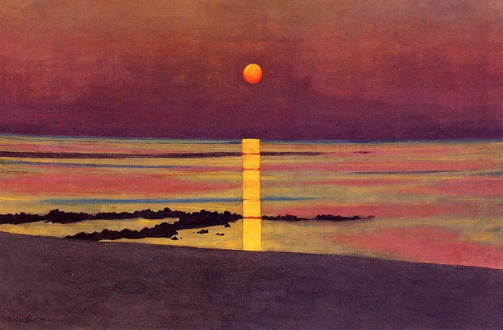 """The irony of man's condition is that the deepest need is to be free of the anxiety of death and annihilation; but it is life itself which awakens it, and so we must shrink from being fully alive.""     Ernest Becker,  The Denial of Death    (Félix Vallotton's  Sunset )"