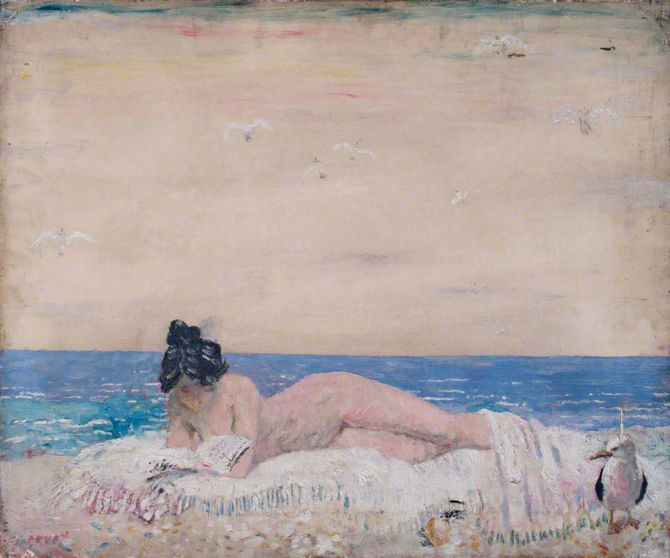 """For me a work of fiction exists only insofar as it affords me what I shall bluntly call aesthetic bliss, that is a sense of being somehow, somewhere, connected with other states of being where art (curiosity, tenderness, kindness, ecstasy) is the norm.""      Vladimir Nabokov,  Lolita     ( William Orpen's  Nude Reading on the Seashore )"