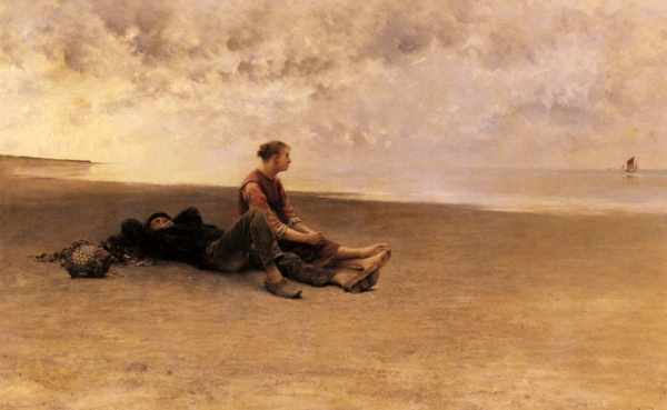 """The beauty of the world, which is so soon to perish, has two edges, one of laughter, one of anguish, cutting the heart asunder.""      Virginia Woolf,  A Room of One's Own     (August Wilhelm Nikolaus Hagborg's  Daydreaming on the Beach )"