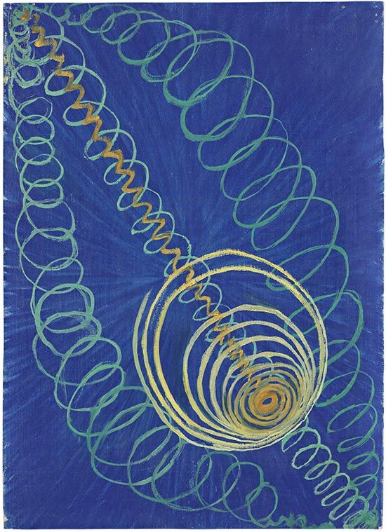 """We dance round in a ring and suppose,     But the Secret sits in the middle and knows.""   Robert Frost, ""The Secret Sits""   (Hilma af Klint's  Primordial Chaos No. 16, group )"