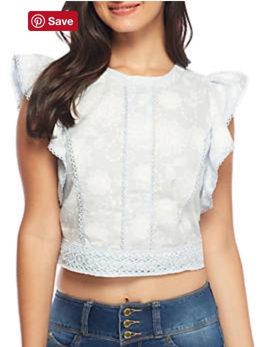 J.O.A. Open Back Embroidered Crop Top