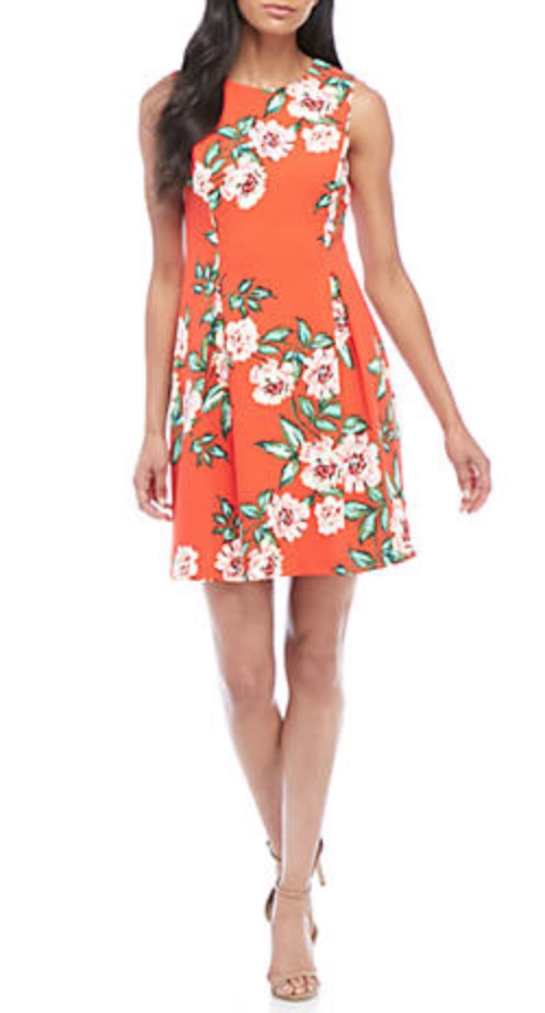 J Howard Sleeveless Tropical Print Fit-and-Flare Dress