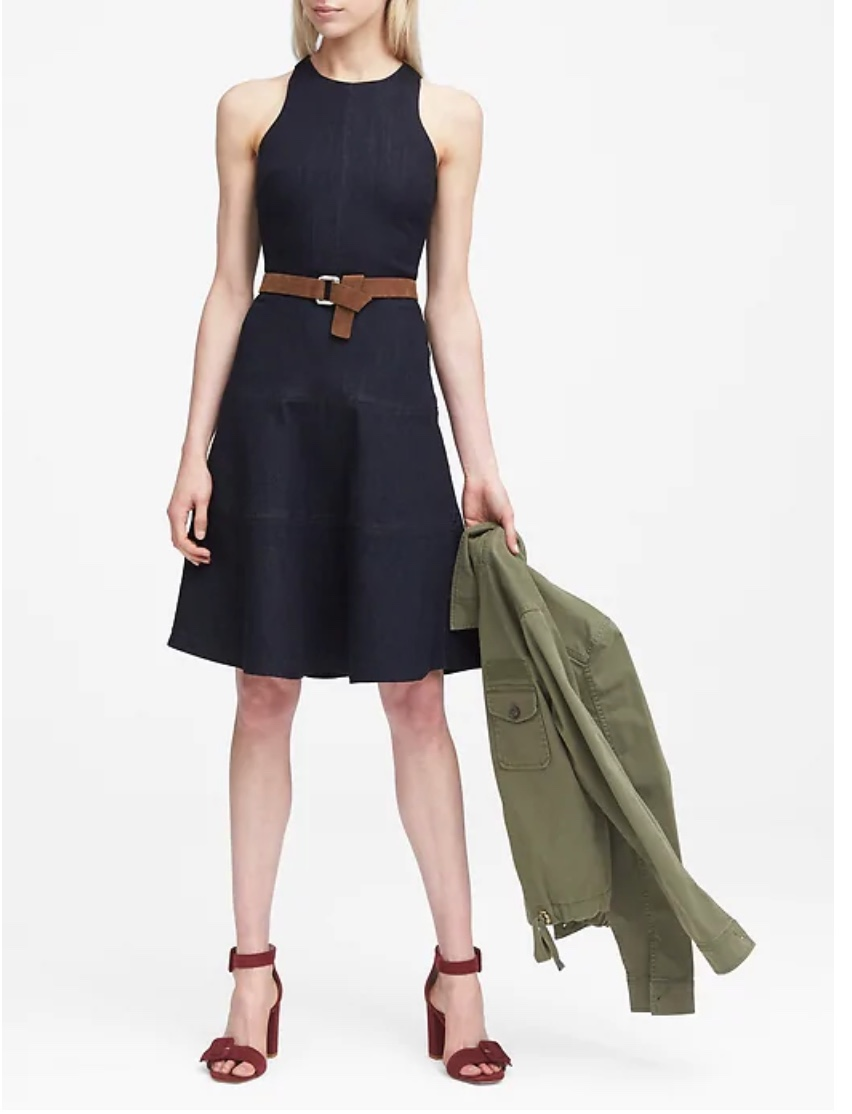 Paneled Denim Fit-and-Flare Dress