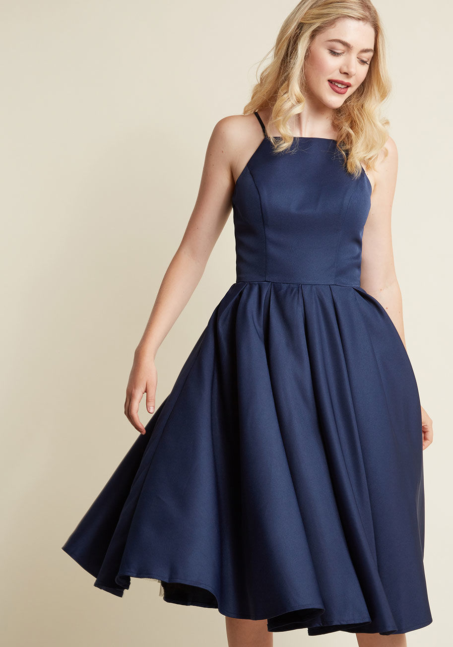 Chi Chi London Beloved and Beyond Midi Dress in Navy