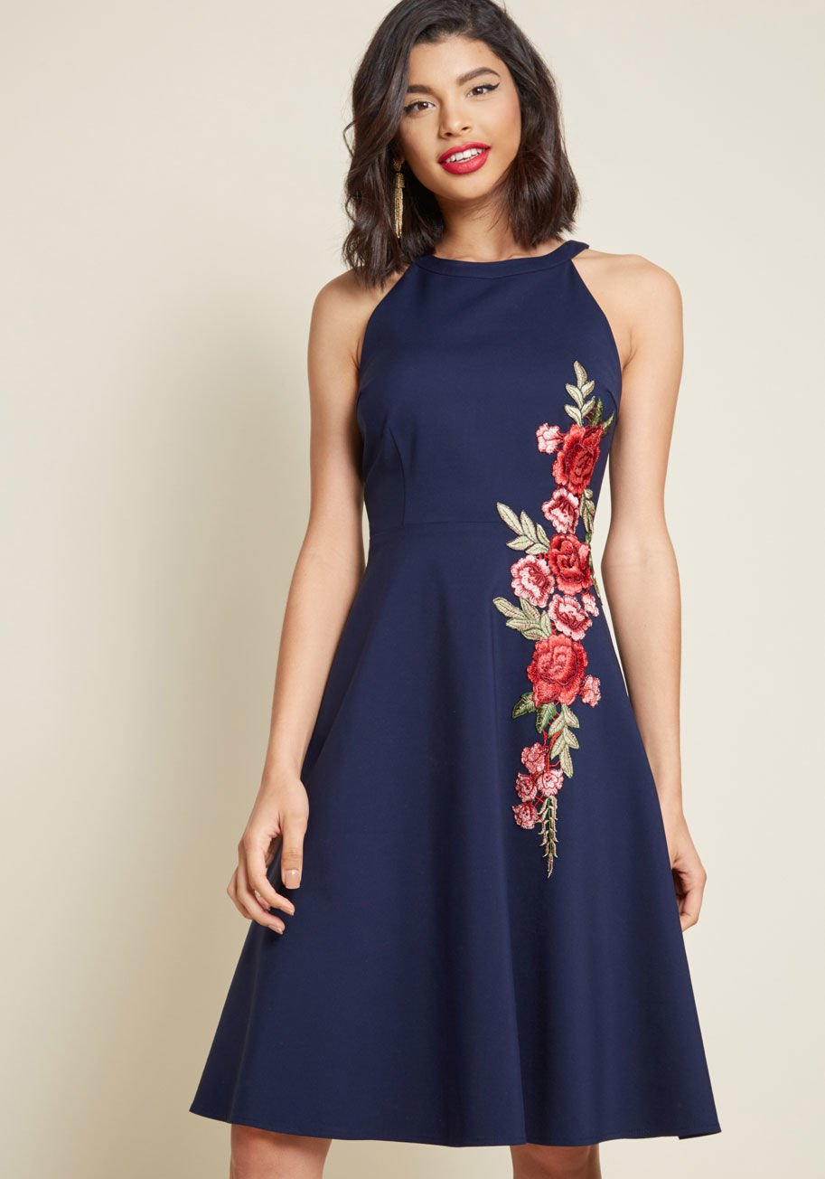 A Lesson in Luxe Embroidered A-Line Dress