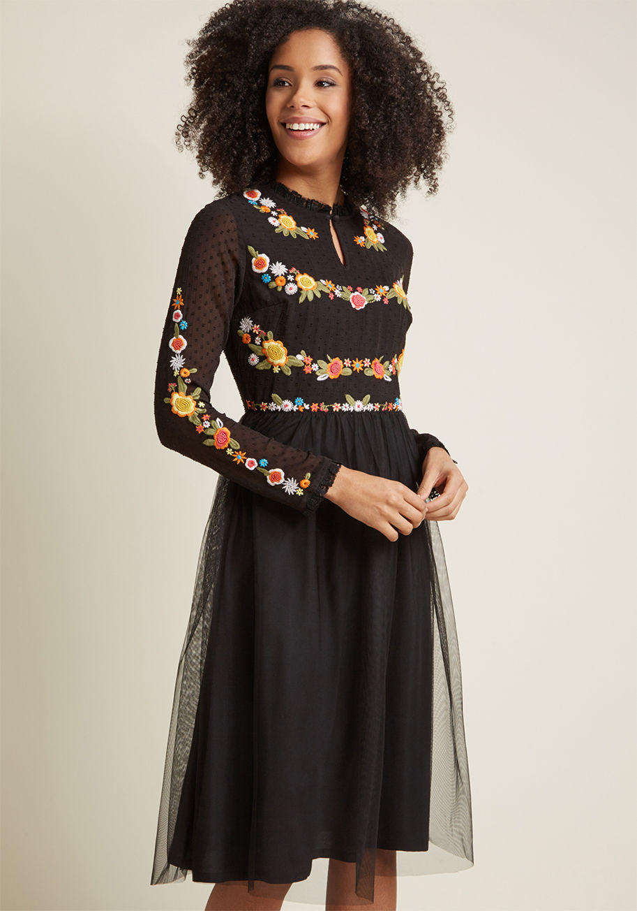Folklore Embroidered Long Sleeve Dress