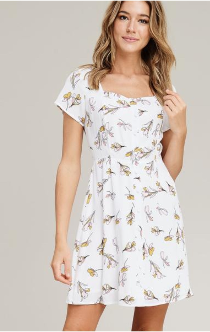 White Floral Button-Up Dress
