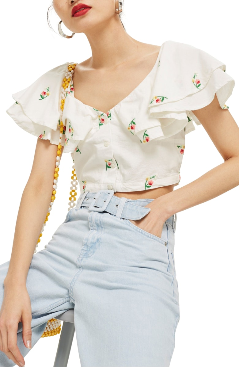 Topshop Embroidered Frill Crop Top