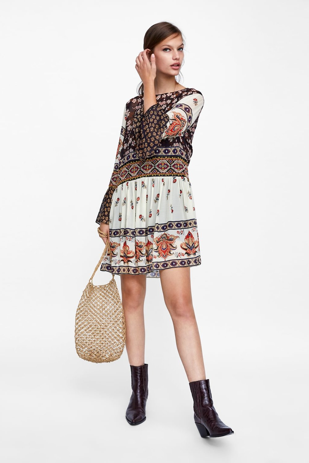 Embroidered Patchwork Dress