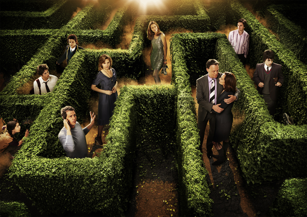 The completed image - actors and composited into maze, atmospherics added.