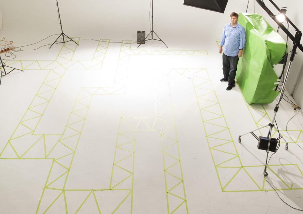 The maze layout is transposed to a studio floor.