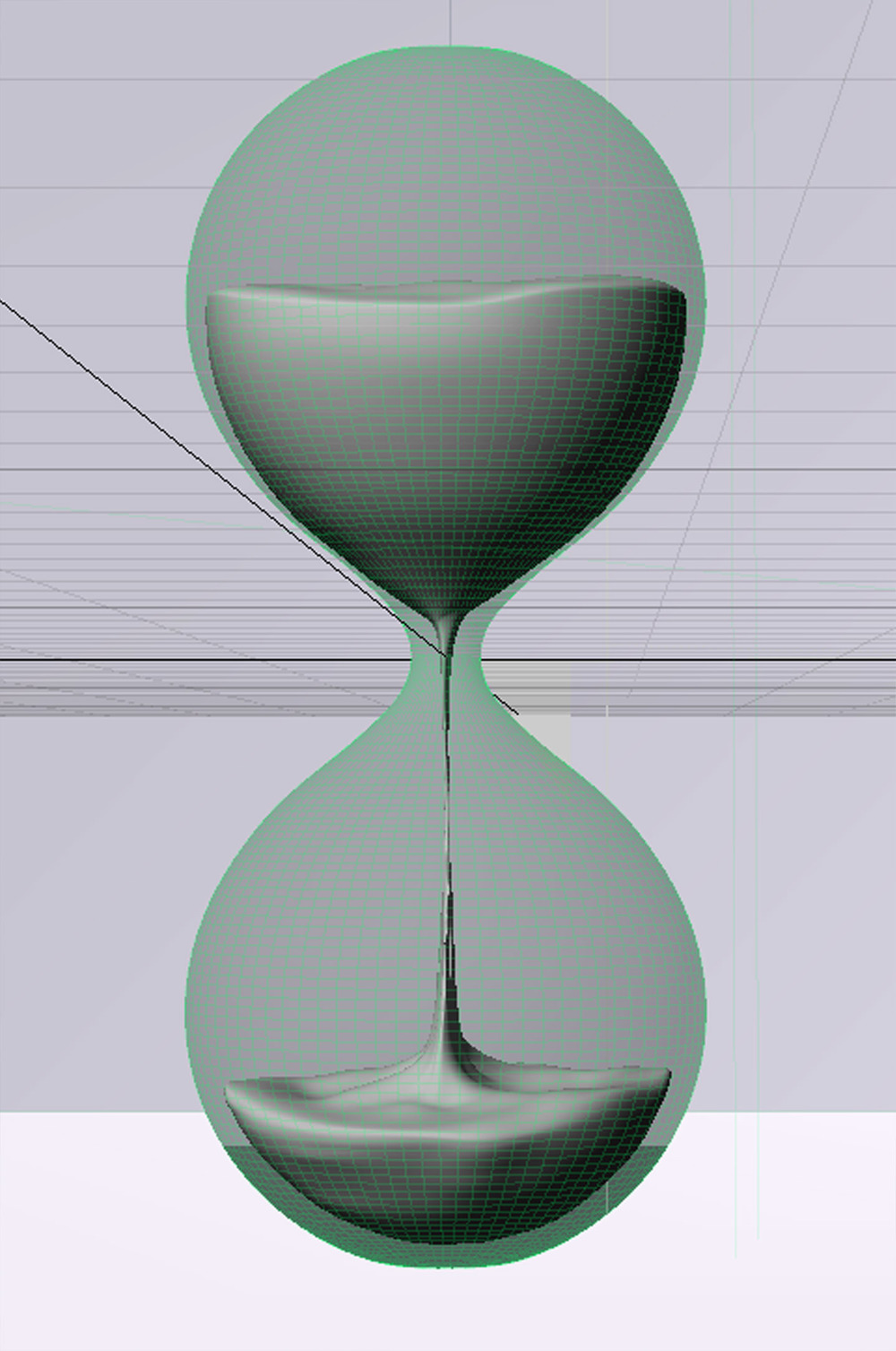 I built a model, using the shape of the stock hourglass as a guide.