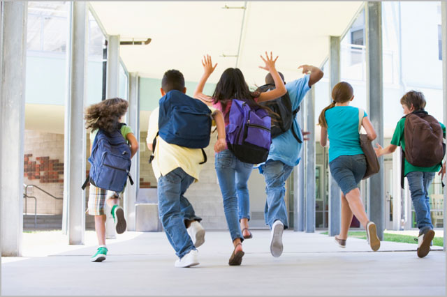 With the press of a button, kids can check-in with parents when arriving or leaving school.