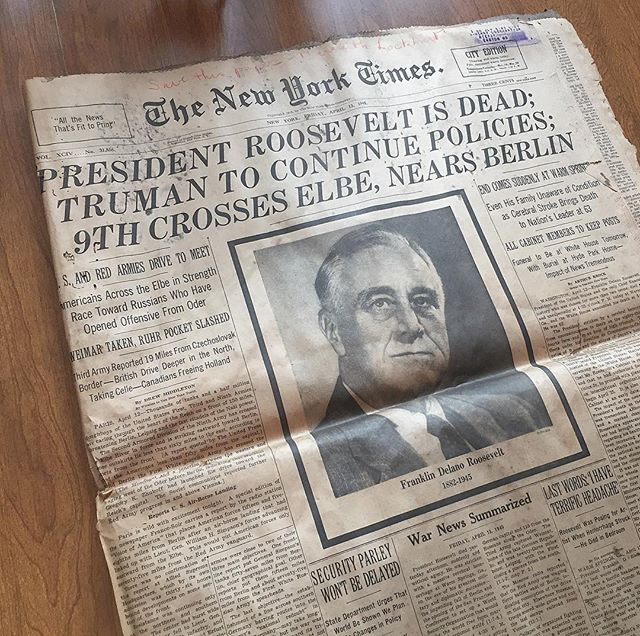 "New York Times: April 13, 1945 ""President Roosevelt is Dead"" an amazing part of history, my father-in-law found this inside an old mirror @nytimes @history #history #newyorktimes #president #america #usa #treasures #antiques #unitedstates #roosevelt #1945 #2017 #newspaper #historian #print #prints #historygeek"