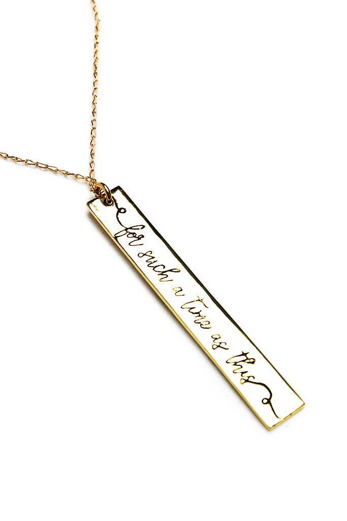 Remind her she has purpose with this limited edition  For Such A Time As This Necklace  by Fashion & Compassion is inspired by Esther 4:14 .