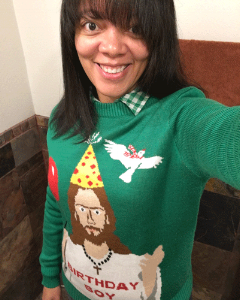 "Help her remind people of the reason for the season with the best  ""Ugly"" Christmas Sweater  ever, from Tipsy Elves®."