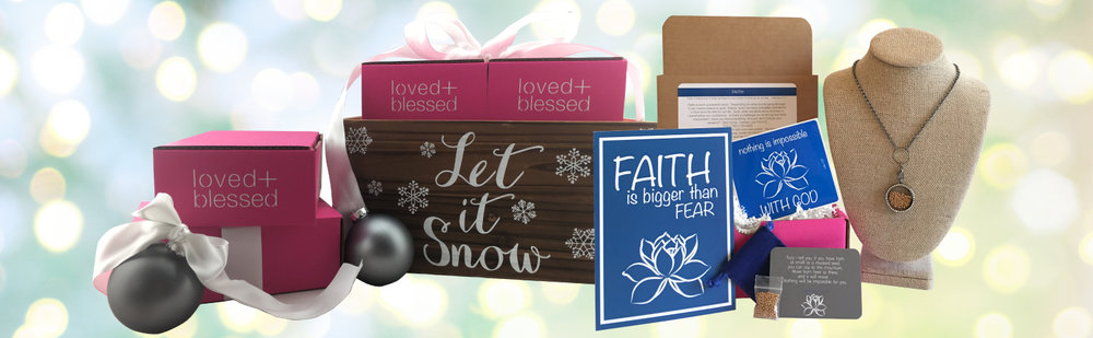 Give her the gift that keeps on giving. A  Monthly Care Package  full of Christian encouragement by loved+blessed®.