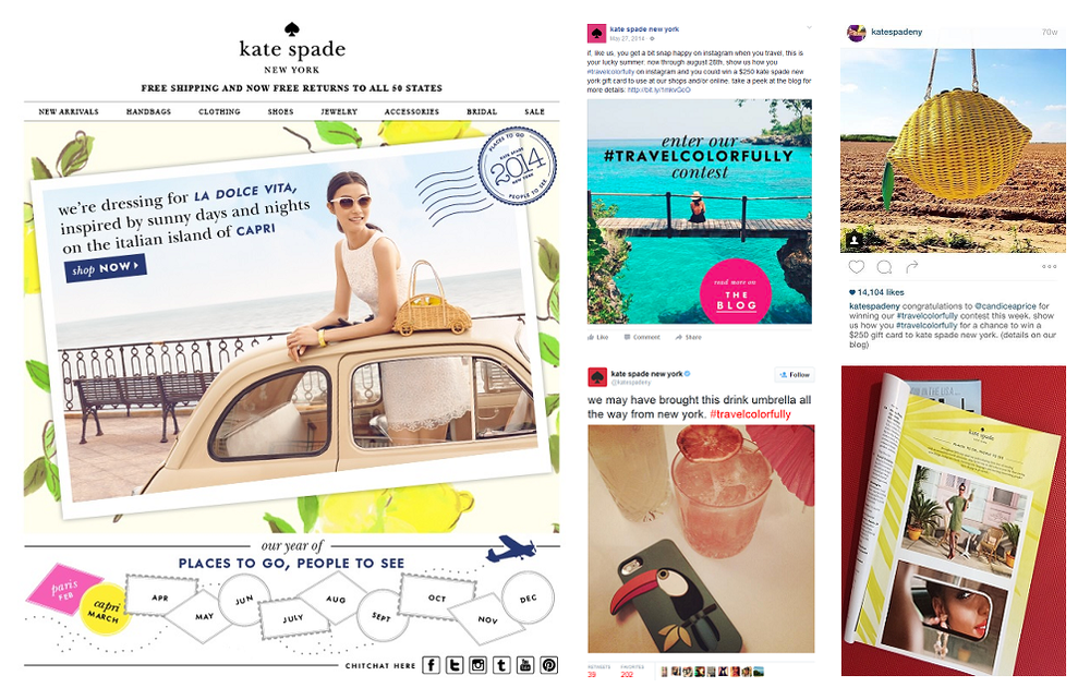 Left: kate spade new york home page. Top center: Facebook. Top right: Instagram. Bottom center: Twitter. Bottom right: Travel and Leisure, June 2014.