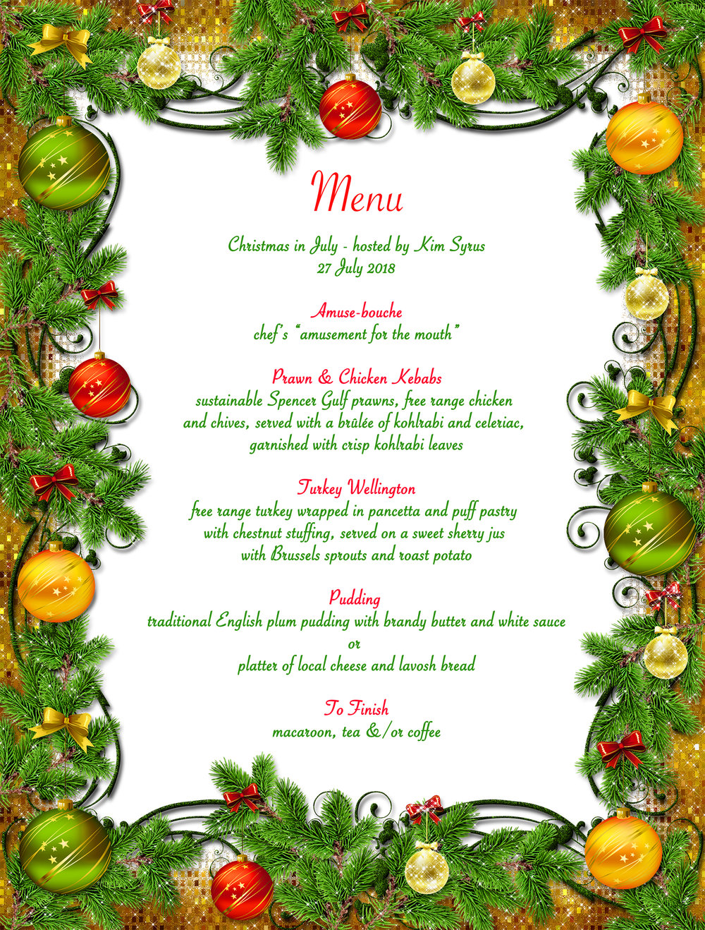Xmas in July Menu 2018 Blackwood