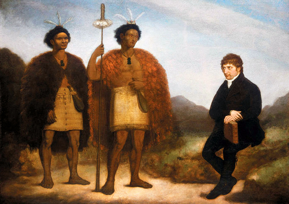 The chiefs Waikato and Hongi Hika with missionary Thomas Kendall in England, oil painting by James Barry, 1820 (18).