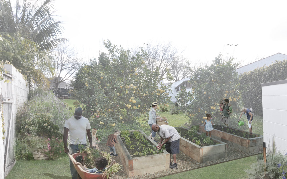 Perspective view of community garden