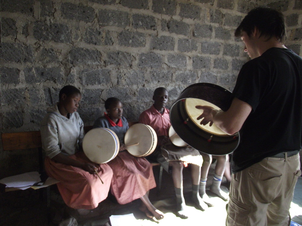 Gareth teaching Bodhran drums.JPG