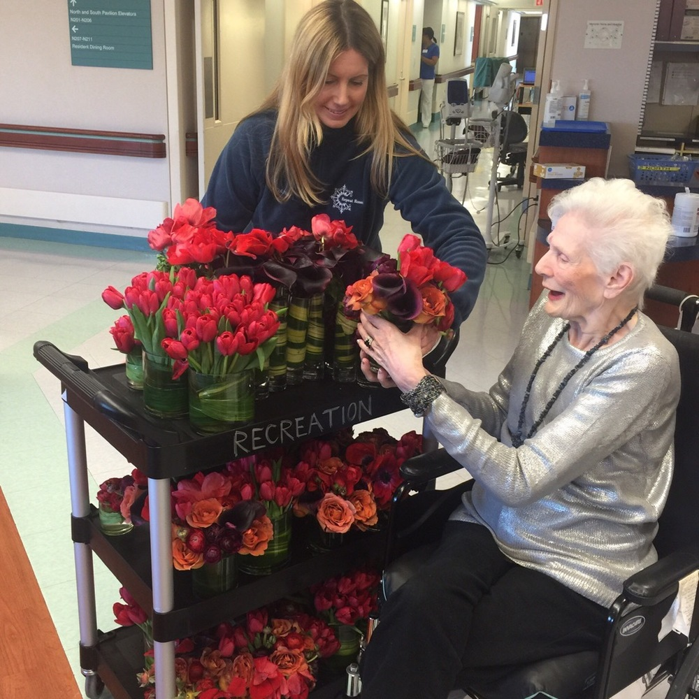 Sharing flowers and spreading kindness to patients and residents at the Metropolitan Jewish Health System's Menorah Center for Rehabilitation and Nursing in Brooklyn, NY.