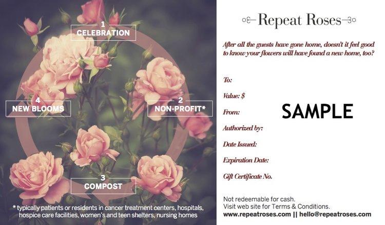 repeat roses gift certificate 1000 repeat roses