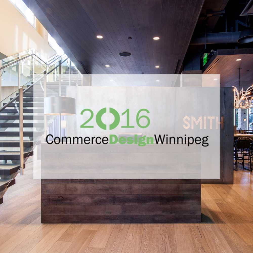 2015 Commerce Design Winnipeg. Winner of the 2015 Grand Jury Prize for the Smith project. Smith is a good use of space, creating comfort, consistency, and sophistication. Quality design and production value is evident and well put together. The Canadiana style reinforces the identity and comfort of the space. Interior design by McKinley Burkart.