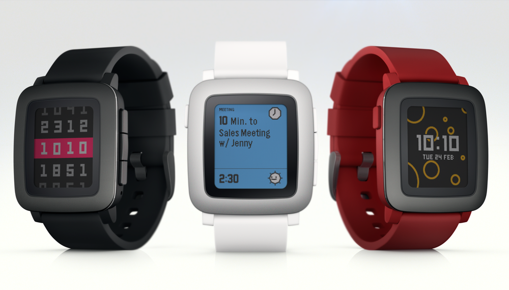 The new Pebble Time is the first smart watch from the company to feature a color e-ink display. Credit: Pebble