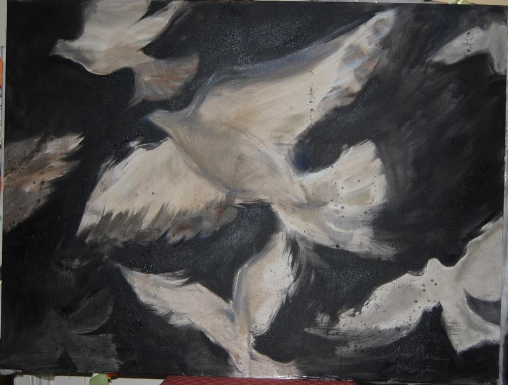 """Bird series (1), 2011  oil & acrylic on canvas,24"""" x 36"""""""