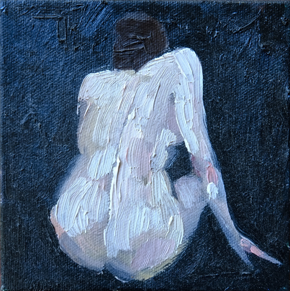 """Small Nude,  2010  oil on canvas, 4"""" x 4"""""""