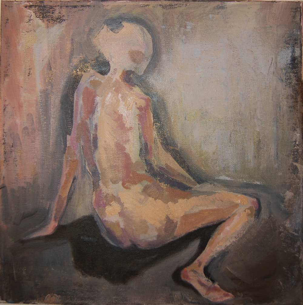 "Small nude (2),  2011  8"" x 8"", oil on canvas"