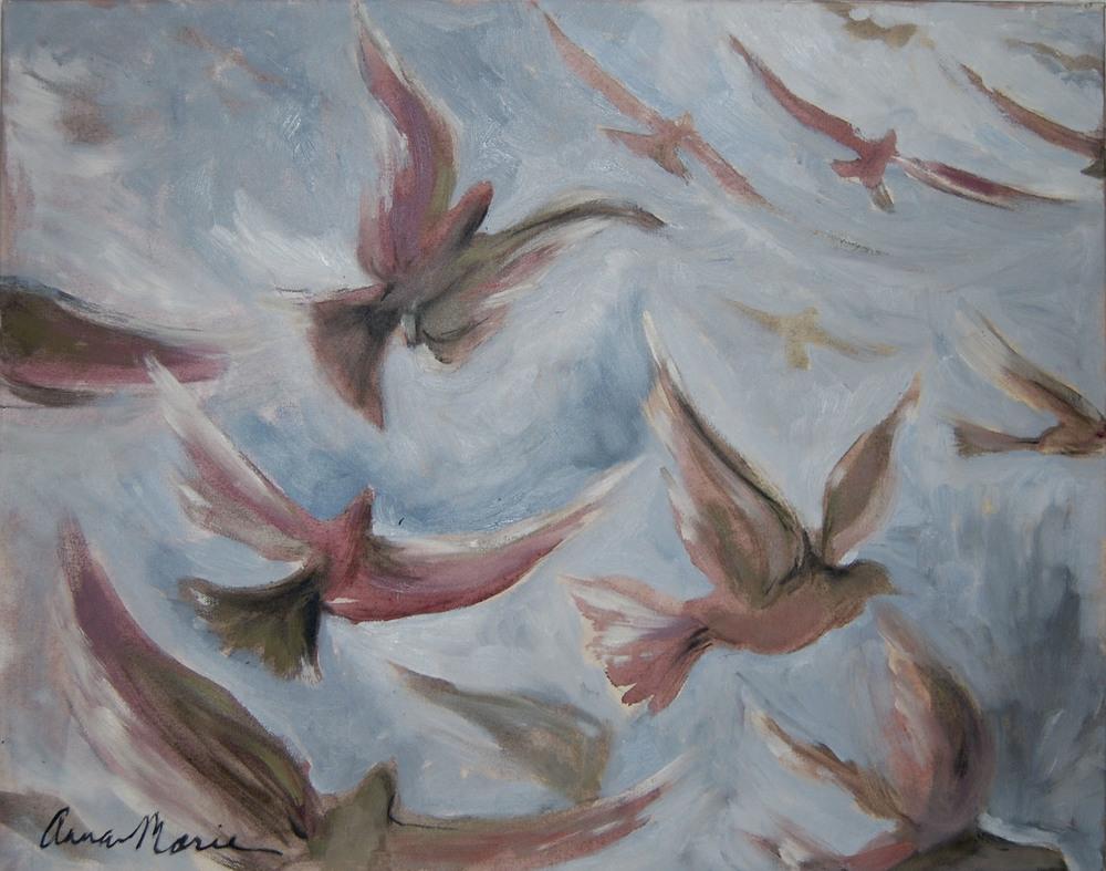 """Bird series (3), 2011  24"""" x 30"""", oil & acrylic on canvas"""