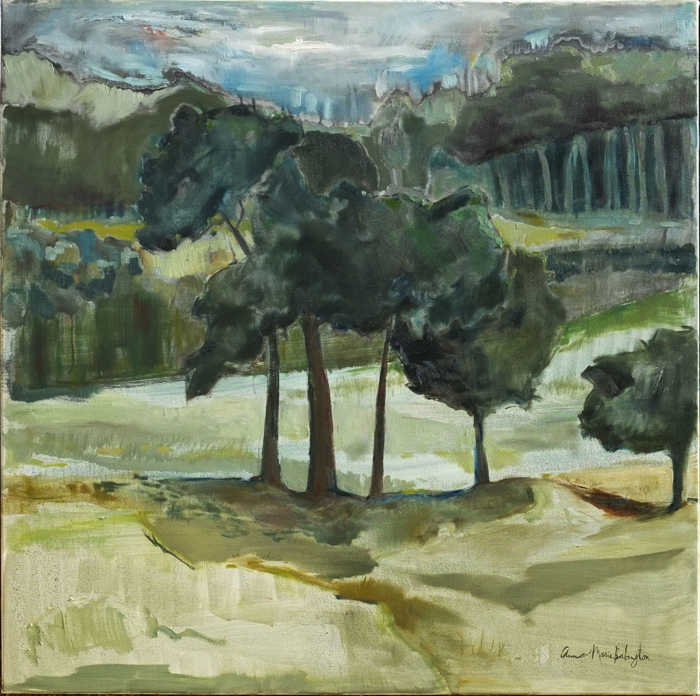 "Tree series (Kinship on the hill),  2014  oil on canvas, 30"" x 30"""