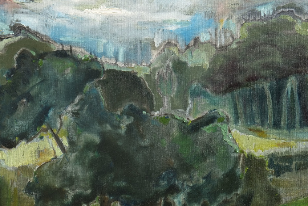 """Tree series (Kinship on the hill, detail),2014  oil on canvas, 30"""" x 30"""""""