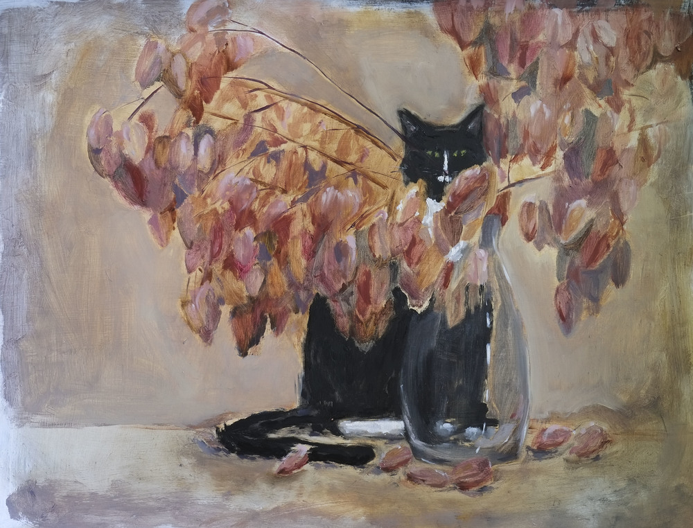 "Still Life With Cat:  Jeeves with Golden Raintree Vase   oil on paper, 18""x24"""