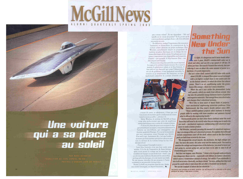 iSun solar car in McGill News.