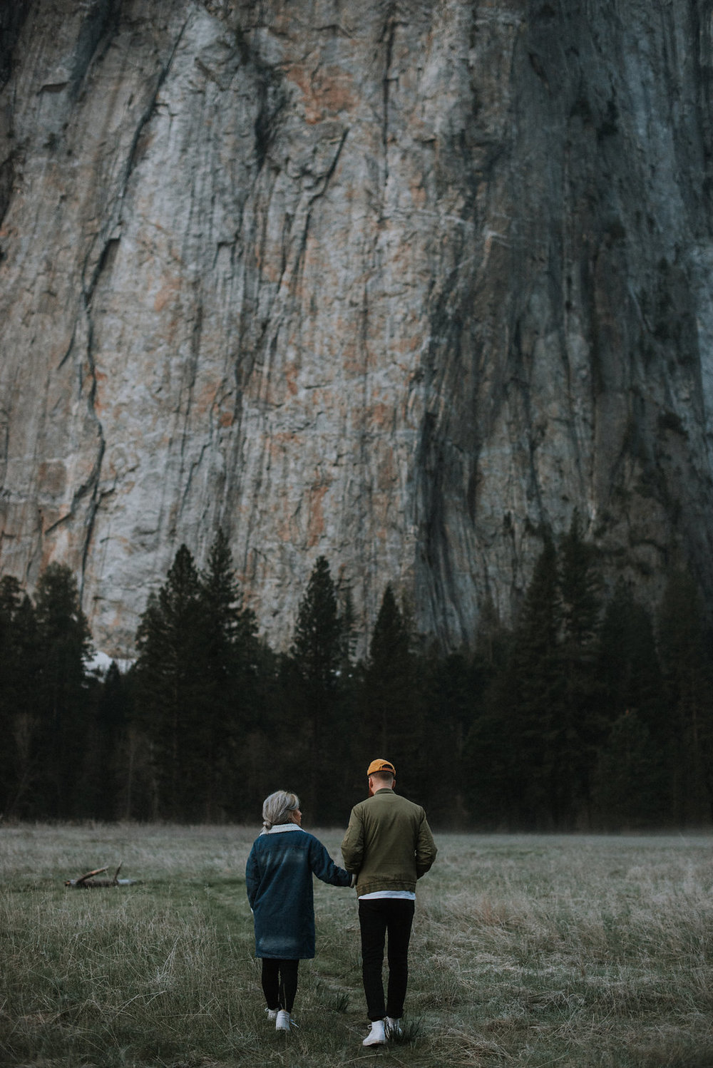 Couple holding hands and walking in Yosemite.