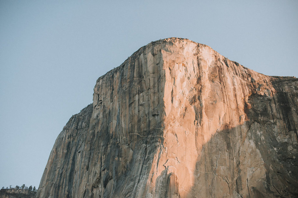 El Capitan at sunrise in April in Yosemite National Park.