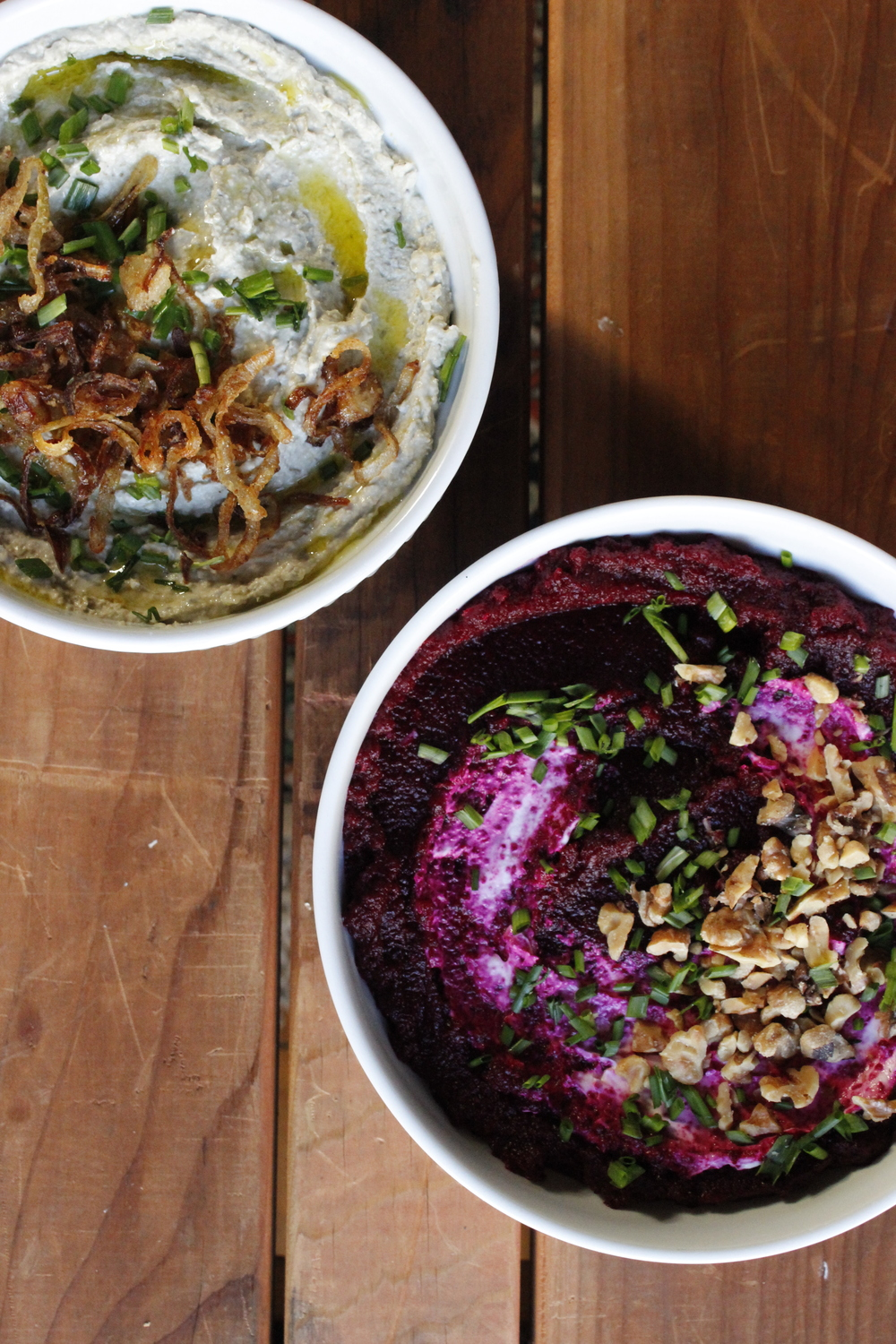 Mung bean hummus (left) and beet caviar