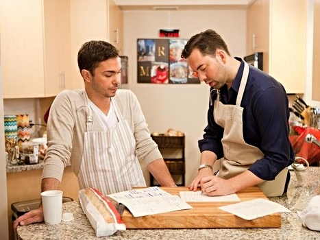 Marc and Ryan in their Chicago kitchen, strategizing on a dinner party menu with a speakeasy theme for  Bobby's Dinner Battle: Battle Chicago  hosted by Bobby Flay on Food Network.