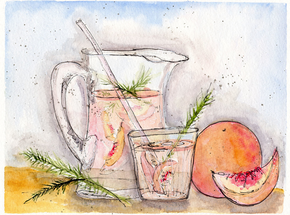 My recipe for Rosé Sangria with Peaches & Rosemary has been brought to life with vibrant watercolor by my friend and artist  Linda Marie Clark . This recipe and watercolor was part of the Watermarc – Art & Appetite special edition Summer Series 2014.