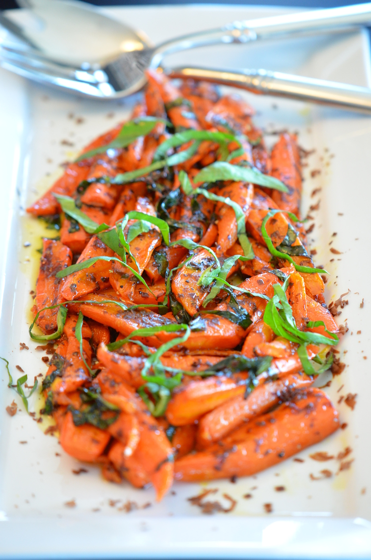 Roasted Carrots with Basil & Dark Chocolate