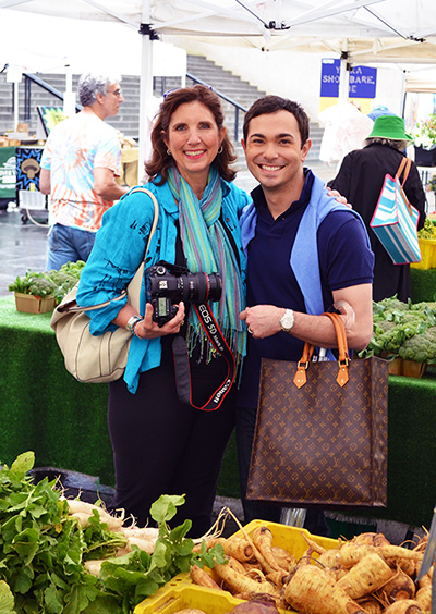 Linda and Marc visiting his local farmer's market at the Museum of Contemporary Art in Chicago for inspiration.