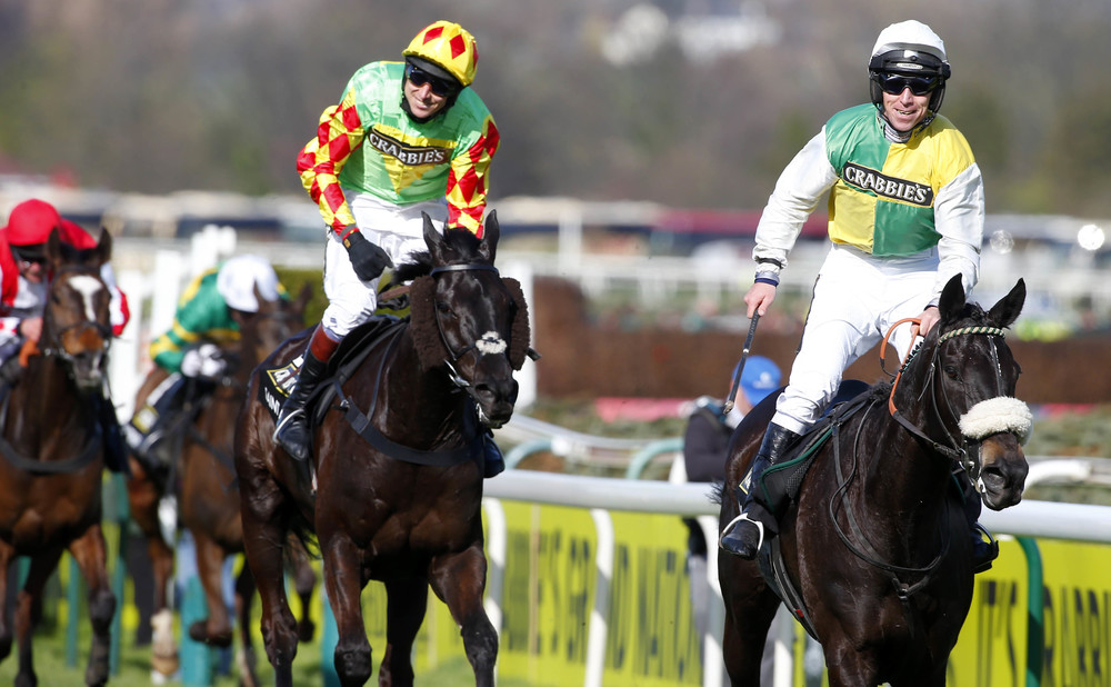 Leighton and Many Clouds past the post first in the 2015 Crabbies Grand National, with, if you look closely, Leighton wearing the JockeyCam. Photo from Dan Abrahams.
