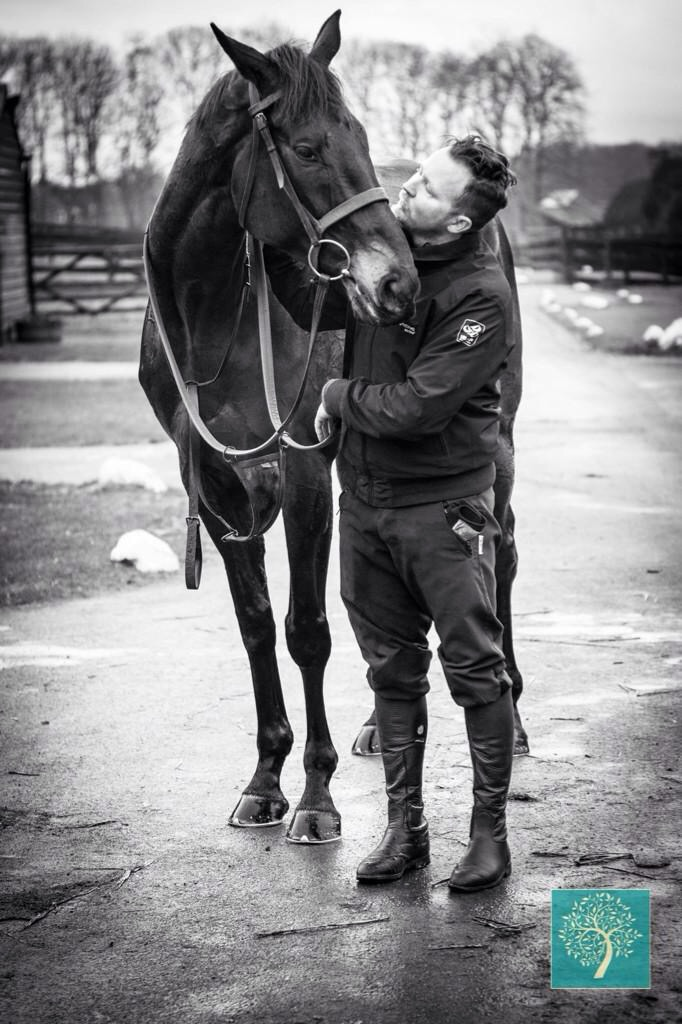 Many Clouds and I after a morning workout before his win in the Hennesy. Photo provided by my wife Stephie Horrocks Photography